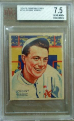 1934-36 Diamond Stars #21A Johnny Vergez 34G/New York Giants/on card back front image