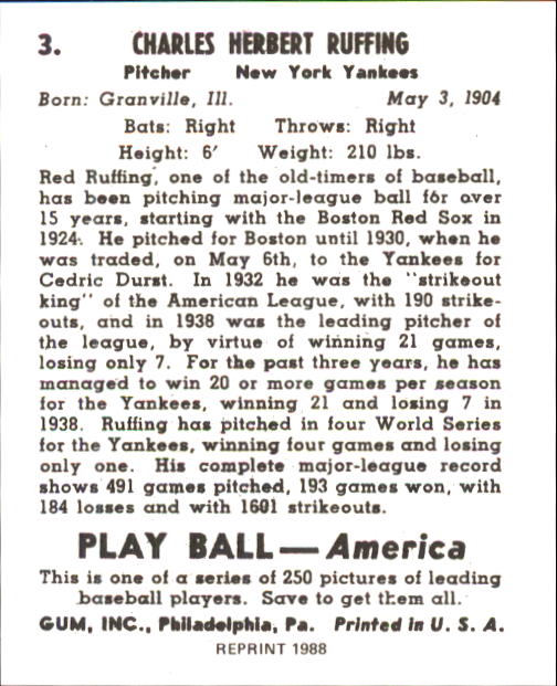 1939 Play Ball #3 Red Ruffing back image