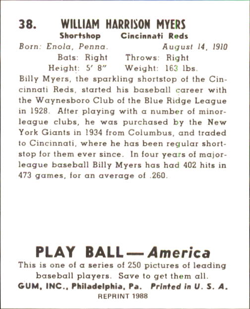 1939 Play Ball #38 Billy Myers RC back image