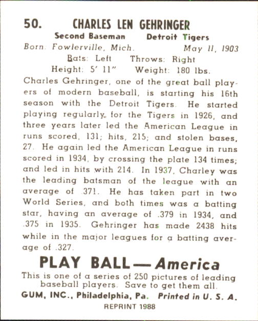1939 Play Ball #50 Charley Gehringer back image