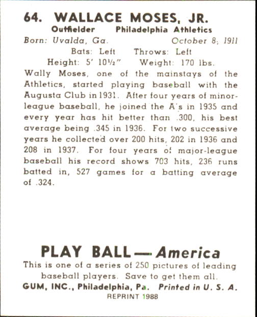 1939 Play Ball #64 Wally Moses RC