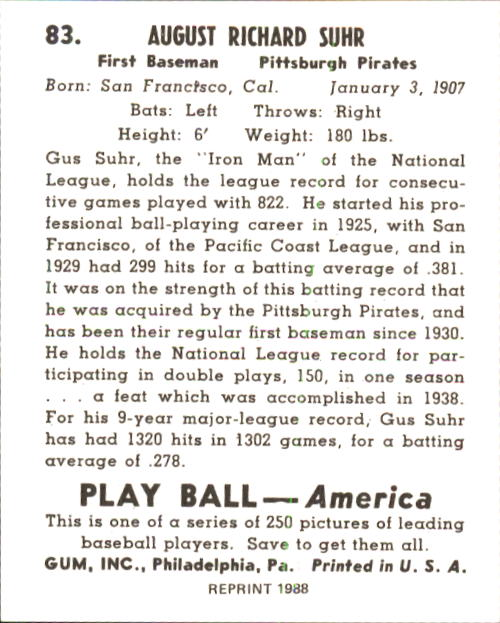 1939 Play Ball #83 Gus Suhr back image