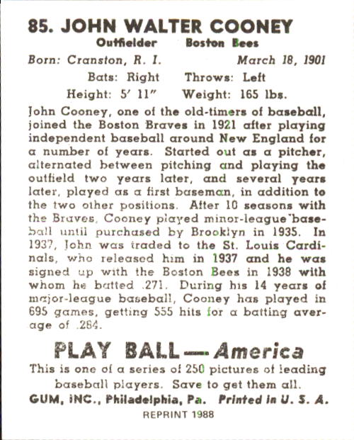 1939 Play Ball #85 Johnny Cooney RC back image