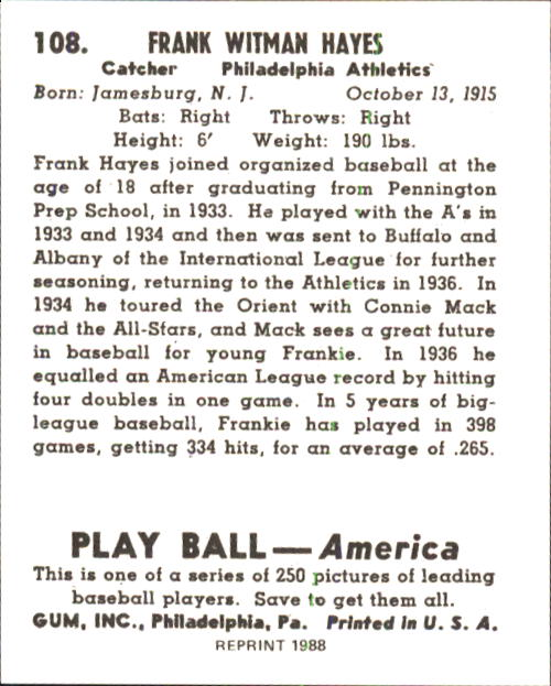 1939 Play Ball #108 Frank Hayes RC back image
