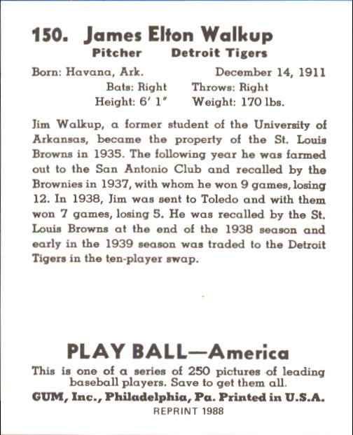 1939 Play Ball #150 James Walkup RC back image