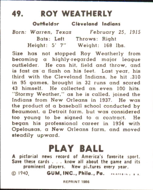 1940 Play Ball #49 Stormy Weatherly