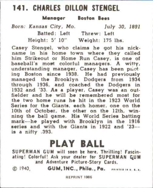 1940 Play Ball #141 Casey Stengel MG RC