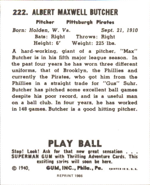 1940 Play Ball #222 Max Butcher RC