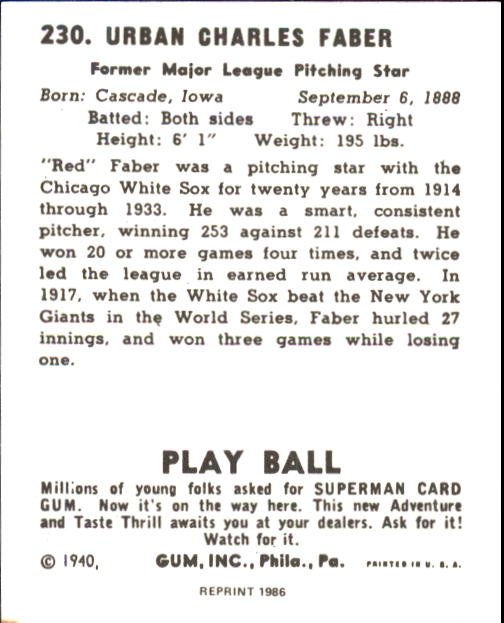 1940 Play Ball #230 Red Faber back image
