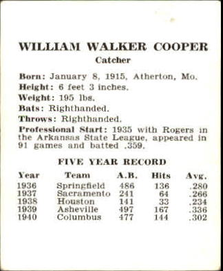 1941 Cardinals W754 #4 Walker Cooper back image