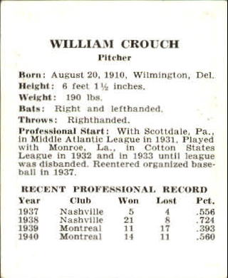 1941 Cardinals W754 #7 Bill Crouch back image