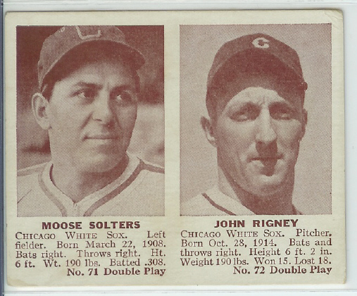 1941 Double Play #71 Moose Solters/Johnny Rigney XRC