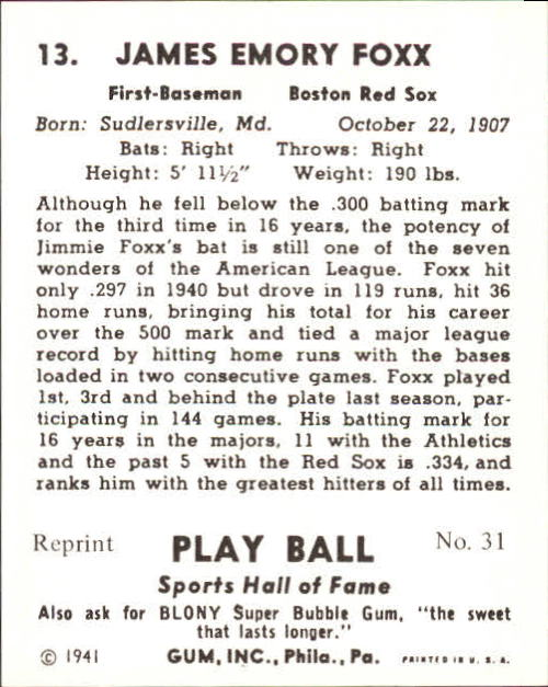 1941 Play Ball #13 Jimmie Foxx back image