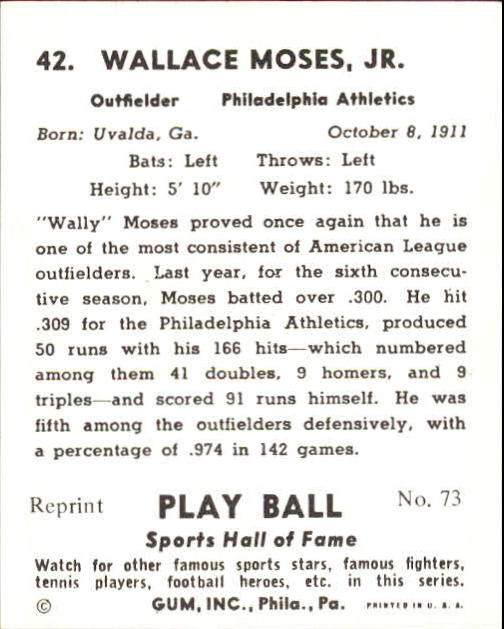 1941 Play Ball #42 Wally Moses