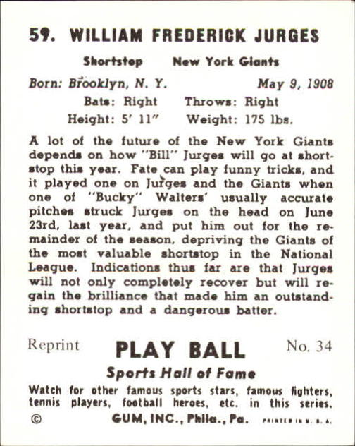 1941 Play Ball #59 Bill Jurges back image