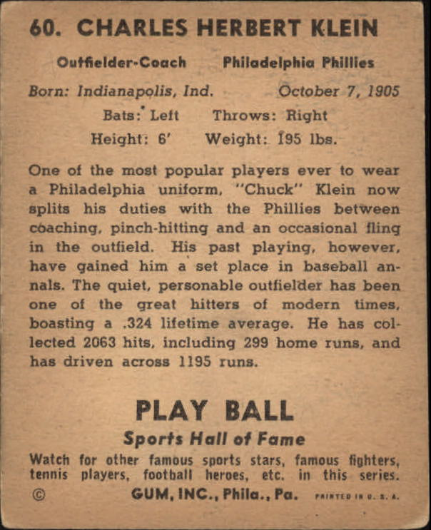 1941 Play Ball #60 Chuck Klein back image
