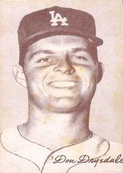 1947-66 Exhibits #65A Don Drysdale Portrait/(circa 1960-61)