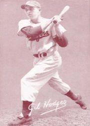 1947-66 Exhibits #99A Gil Hodges/(Brooklyn cap)/(has been reprinted)