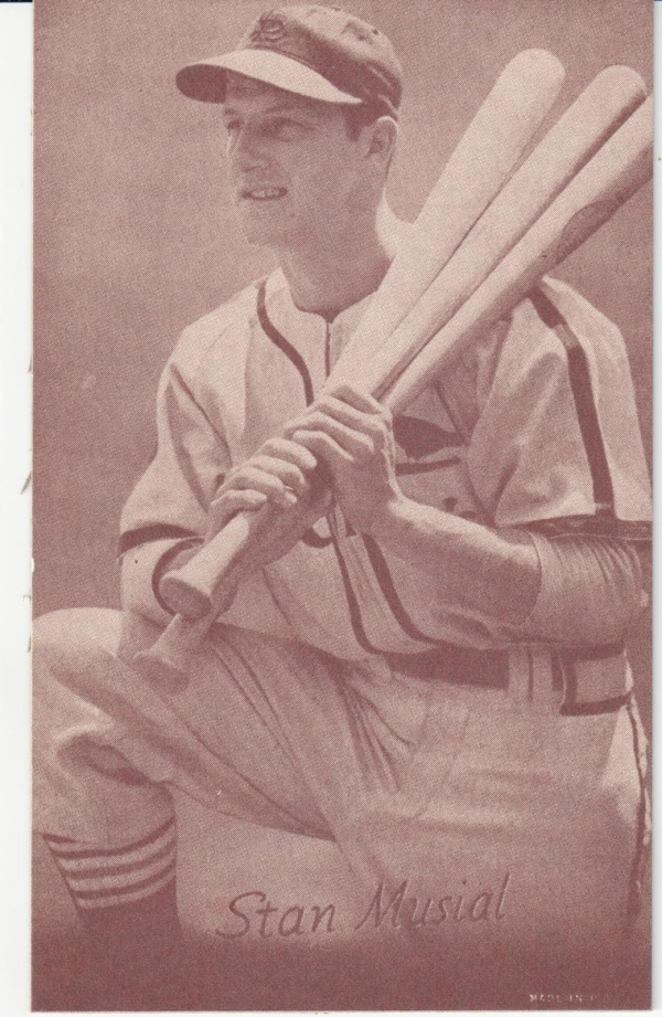 1947-66 Exhibits #164A Stan Musial/(three bats, kneeling)/(has been reprinted)