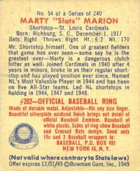 1949 Bowman #54 Marty Marion back image