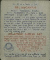 1949 Bowman #80 Bill McCahan back image