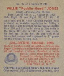 1949 Bowman #92 Willie Jones RC back image