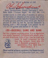 1949 Bowman #111 Red Schoendienst back image
