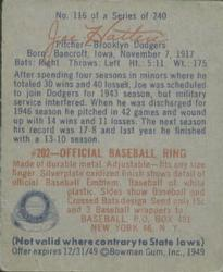 1949 Bowman #116 Joe Hatten RC back image