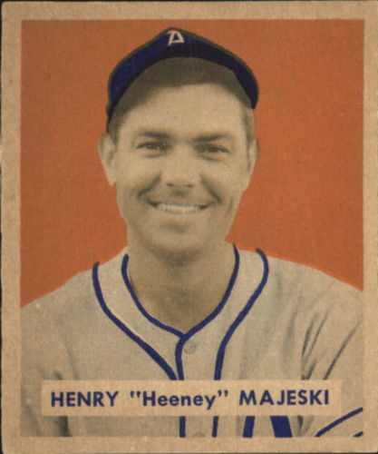 1949 Bowman #127A Hank Majeski Script RC(player name in script on back)