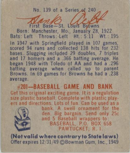 1949 Bowman #139 Hank Arft RC back image