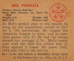 1950 Bowman #1 Mel Parnell RC back image
