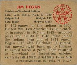 1950 Bowman #7 Jim Hegan back image