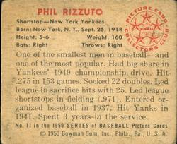 1950 Bowman #11 Phil Rizzuto back image
