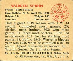 1950 Bowman #19 Warren Spahn back image