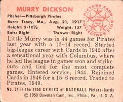 1950 Bowman #34 Murry Dickson back image