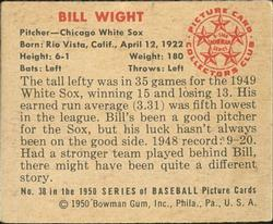 1950 Bowman #38 Bill Wight RC back image