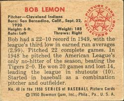 1950 Bowman #40 Bob Lemon back image