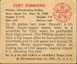 1950 Bowman #68 Curt Simmons back image