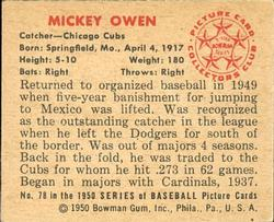 1950 Bowman #78 Mickey Owen back image