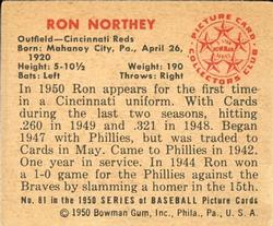 1950 Bowman #81 Ron Northey back image