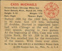 1950 Bowman #91 Cass Michaels back image