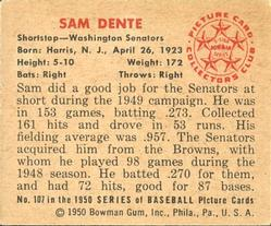 1950 Bowman #107 Sam Dente RC back image