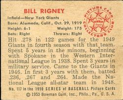 1950 Bowman #117 Bill Rigney back image