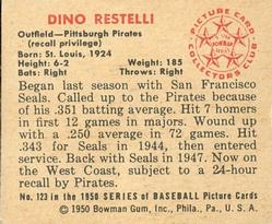 1950 Bowman #123 Dino Restelli RC back image