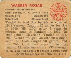 1950 Bowman #136 Buddy Rosar back image