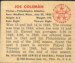 1950 Bowman #141 Joe Coleman RC back image