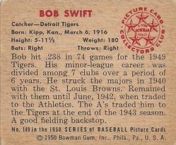 1950 Bowman #149 Bob Swift back image