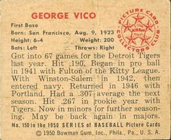 1950 Bowman #150 George Vico back image
