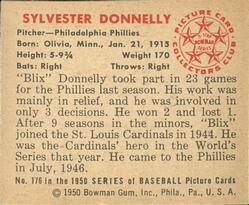 1950 Bowman #176 Sylvester Donnelly back image