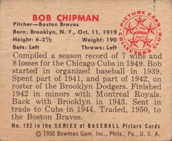 1950 Bowman #192 Bob Chipman back image